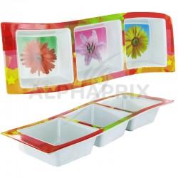 Plateau VAGUE décor Fleurs - pièce en stock