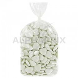 Coeurs au chocolat Dragées blanches brillantes - 1kg en stock