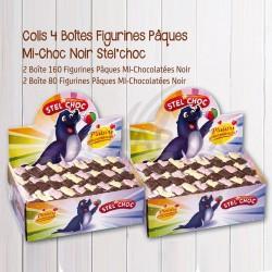 ~Colis 4 boîtes Figurines Pâques mi chocolatées noir en stock