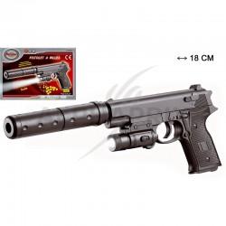 Pistolet 18cm + torche + silencieux + 18 billes en stock