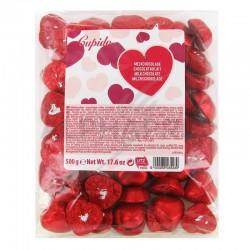 Coeurs chocolat au lait s/alu rouge - 500g