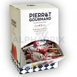 Sucettes Fer de Lance Pierrot Gourmand assorties en présentoir en stock