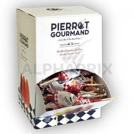 Sucettes Fer de Lance Pierrot Gourmand assorties en présentoir
