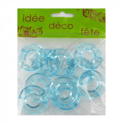 Anneaux translucides turquoise (socle pour boules/gouttes) par 10 en stock