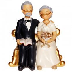 Couple de Seniors sur fauteuil doré H. 15cm en stock