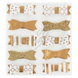Noeuds papillon autocollants bronze par 10 assortis en stock