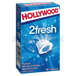 Hollywood dragées 2fresh Menthe Fraîche et Forte s/sucres en stock