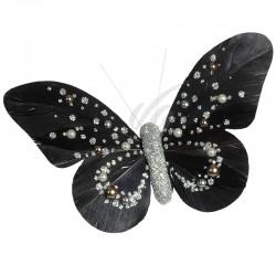 Papillons Perle sur pince NOIR par 2 en stock
