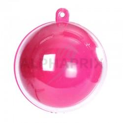Boules plexi 5CM Couleur Fuchsia/Transparente par 20 en stock