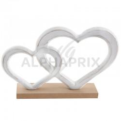 Double coeurs enlacés sur socle en bois en stock