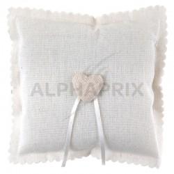 Coussin coeur en coton blanc en stock