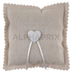 Coussin coeur en coton naturel en stock