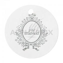 Etiquettes blanches Just Married par 10 en stock