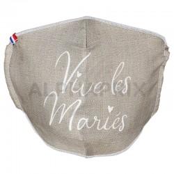 Masque lavable Vive les Mariés (Cat1 normes AFNOR-SPEC6) en stock