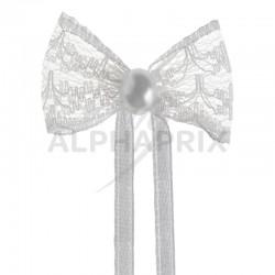 Noeuds dentelle et perle sur ruban BLANC par 10 en stock