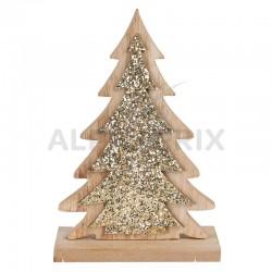 Déco sapin de Noël paillettes or en bois en stock