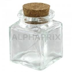 Mini pots carré avec bouchon en liège par 12 en stock