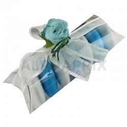Etuis transparents 6cm, roses bleues et ruban blanc par 50 en stock