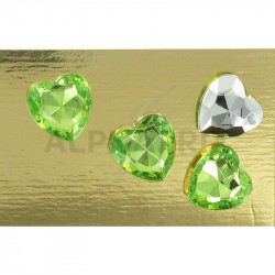 Coeur diamant 1,50cm vert par 24 en stock