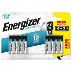 Piles Energizer alcaline AAA Max Plus LR03 en blister de 6+2 offertes en stock