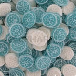 Menthe pastilles rondes bleues et blanches kg