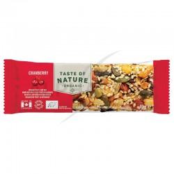 Taste of Nature Cranberry barres Bio 40g en stock