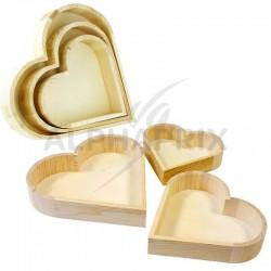 Présentoirs Coeurs en bois - 3 modèles assortis en stock