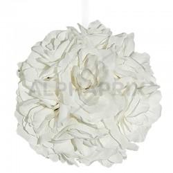 Boule de pétales de rose avec ruban BLANC mat en stock