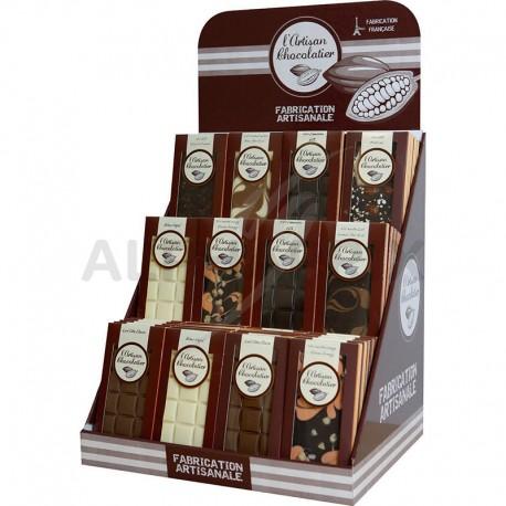 """Présentoir Tablettes chocolats assortis 100g """"Prêt à vendre"""""""