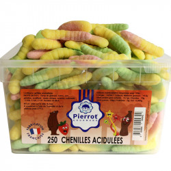 Chenilles acides candy tubo Pierrot Gourmand en stock