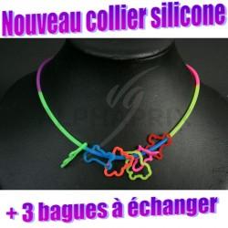 Colliers + bagues form's à echanger 100% silicone en stock
