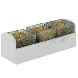 Barquette 3 cubes en verre rempli de bougies avec mèche au centre en stock