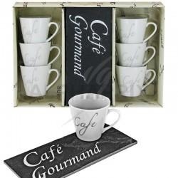 Lot de 6 tasses à café sur plateau ardoise 18x8cm en stock