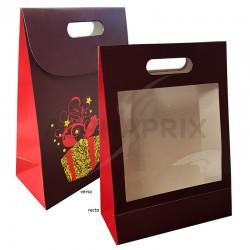 Pochette cadeau fenêtre transparente 19x9x27cm en stock