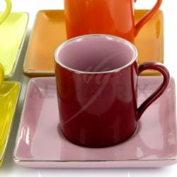Coffret de 4 tasses et sous tasses couleurs ass. en stock