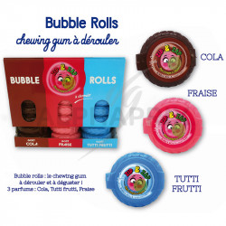 Bubble rolls chewing gum au mètre 60g en stock