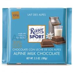 Ritter Sport lait des alpes 100g en stock