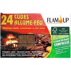 Cubes allume feu naturel bois compresse (x24) en stock