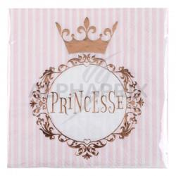 Serviettes de table princesse rose gold par 20 en stock