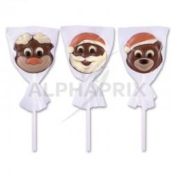 Sucettes chocolat Pères Noël Oursons Rennes assortis 18g en stock