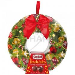 Couronne de Noël garnie boules et papillotes 188g en stock